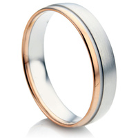 Double Comfort Two Colour Gents Gold Wedding Ring