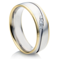 Court Shape, Two Colour Diamond Wedding Ring