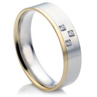 Flat Court Two Colour Diamond Wedding Ring