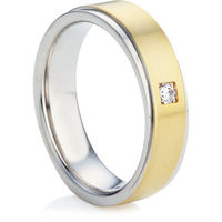 Yellow and White Gold Diamond Wedding Ring