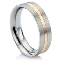 Steel & Rose Gold Wedding Ring