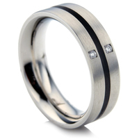 Steel and Ceramic Diamond Wedding Ring