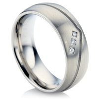 Steel Diamond Wedding Ring