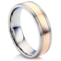 Steel and Rose Gold Wedding Ring