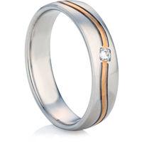 Two Colour Diamond Set Decorative Wedding Ring