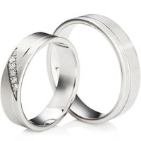 Matt Finished Flat Court Palladium Wedding Ring Set