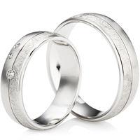 Palladium Multi finish Wedding Ring Set