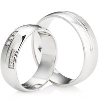 Decorative Palladium Grooved Wedding Ring Set