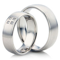 White Gold Wedding Ring Set in a Court Profile