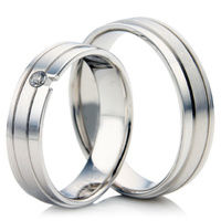 White Gold Flat Court Wedding Ring Set