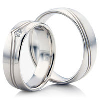 White Gold Decorative Wedding Ring from a Set