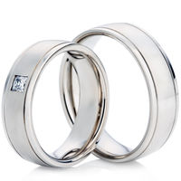 18ct White Gold Wedding Ring Set with a 6.5mm Width