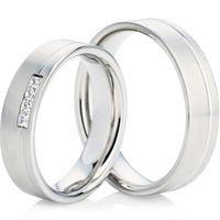 White Gold Flat Court Profiled Wedding Ring Set