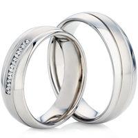 White Gold Court Profiled Wedding Ring Set