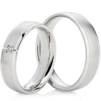 White Gold Decorative Wedding Ring in a Court Profile