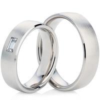 White Gold Matt Finished Wedding Ring Set