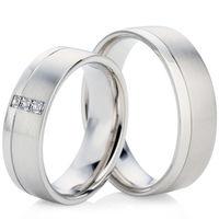 Two Tone White Gold Wedding Ring Set