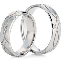 18ct White Gold Court Profiled Wedding Ring Set