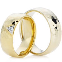 18ct Yellow Gold Wedding Ring Set with a Hammered Finish