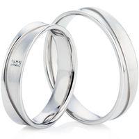 White Gold Dual Finished Wedding Ring Set
