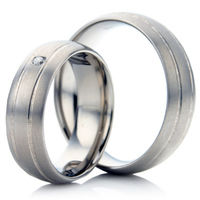 Twin Grooved Matt Finished Titanium Wedding Ring Set