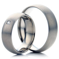 Matt Finished Titanium Wedding Ring Set