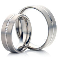 Wedding Ring Set in Matt and Polished Titanium