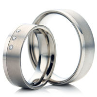 Titanium Wedding Ring Set with a Dual Finish