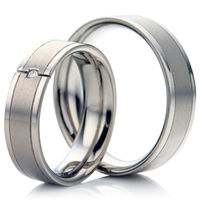 Titanium Two Finish Wedding Ring Set
