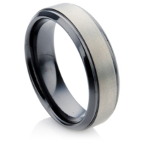 Zirconium wedding ring with matte finish center