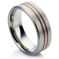 Dual Groove Zirconium ring
