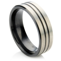 Wedding ring with 2 lines on matte finish