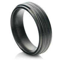 Black zirconium ring in a flat comfort fit profile