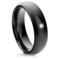 Black Zirconium Ring with a Diamond
