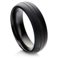 Matte finished black zirconium ring with lines