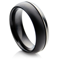 Two Tone Black and Silver colour Zirconium Ring