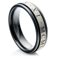 Zirconium ring with roman numerals