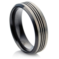 Matte finished black zirconium ring
