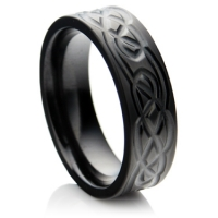 Black Zirconium Celtic Wedding Ring