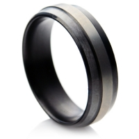 Wedding ring with central matte ridge in zirconium