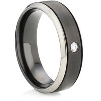 Black Zirconium Ring with Brilliant Cut Diamond