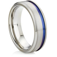 Zirconium Ring with Off Centred coloured Groove