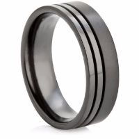 Decorative Two Tone Black Zirconium Ring